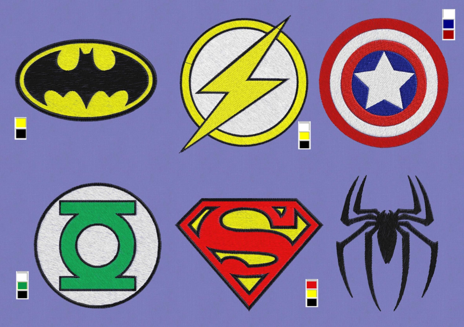 6 logo embroidery design Superhero 2 hoops superman 4x4 ...