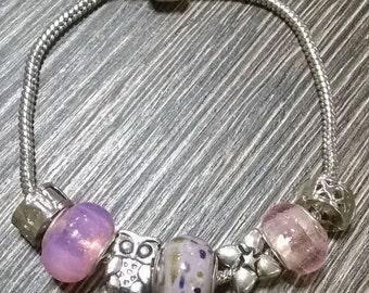Pink charm bracelet (pandora style)