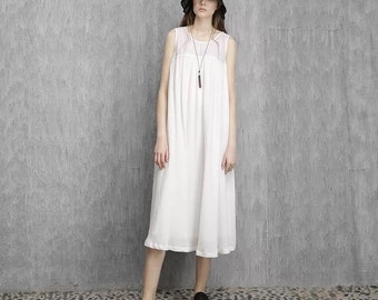 Linen white mesh tank dress   BonLife