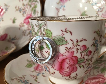 Personalised silver family necklace