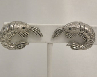Vintage Figural Shrimp Prawn Earrings in Silver Tone