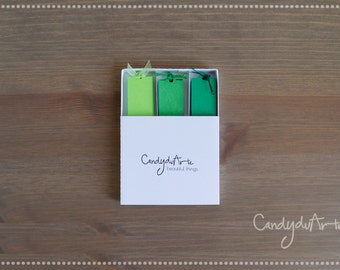 60 TAGS lime green, mint green, sea green + box