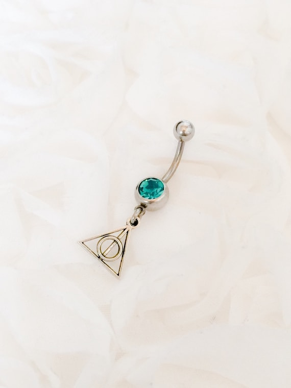 emerald belly ring deathly hallows belly bar belly