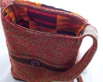 A4 Red & Green Knitted Bag