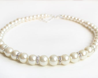 Big pearl necklace bridesmaid jewelry wedding gift wedding party 12mm pearl ivory pearl bridesmaid necklace mother gift wedding necklace