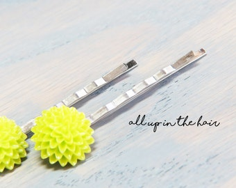 Green Bobby Pins - Flower Bobby Pins