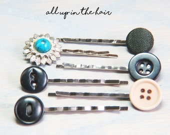 Black Button Bobby Pins - Bobby Pin Set - Blue Bobby Pins