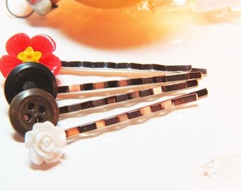 Button Bobby Pins  - Button Hair Pins - Rose Bobby Pin- Rose Hair Pin - Hibiscus Bobby Pin - Hibiscus Hair Pin - White Bobby Pin