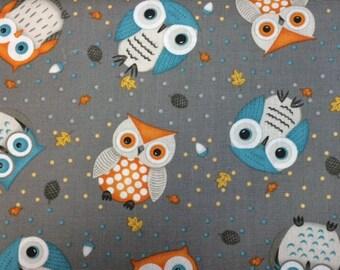 Wilmington Prints CUTE CRITTERS (Gray Owls) 100% Premium Cotton Fabric-Per 1/2 yd