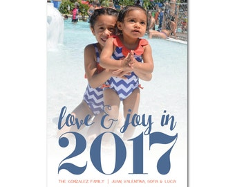 New Year's/Holiday Card with Photo - 5x7 - Love & Joy 2017 - Printable and Personalized