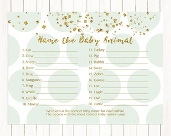 Mint and Gold Baby Animal Name Game, Baby Shower Game, Mint Green and Gold Who's My Mommy Game, Instant Download PDF Printable