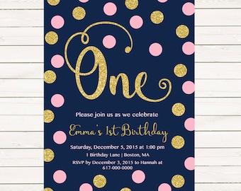 Pink and Gold 1st Birthday Invitation Girl, Any Age Pink Gold Dots Navy Girl First Birthday Invitation, Polka Dot Printable Digital JPEG PDF