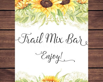 Trail Mix Bar Sign, Sunflower Trail Mix Bar Sign, Sunflower Trail Mix Sign, Sunny Sunflowers Instant Download PDF Printable