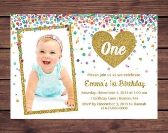 Gold 1st Birthday Invitation Girl, Any Age Confetti Gold Heart Girl First Birthday Photo Invitation, Printable Digital JPEG P