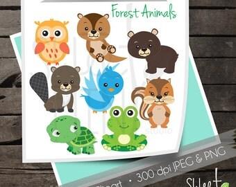 Forest Animals Digital Clipart, Forrest Animal Clip Art, Woodland Creatures, Instant Download, Printable, Bear, Chipmunk, Owl, Turtle, Frog