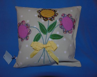 Flower Power Cushion Cover ~ Decoupage scatter cushion, floral, funky, retro, stylish pillow, daisy, posie