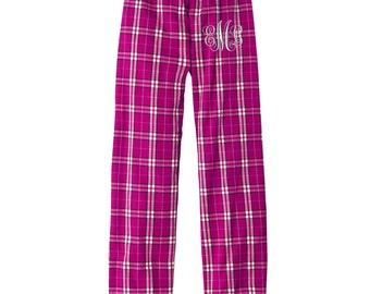 Monogrammed Flannel Plaid Pajama Pants - Monogrammed.  Monogrammed Pajamas. Mongrammed Lounge Pants.  DT2800