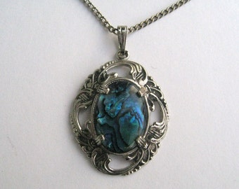 Blue Paua Shell Pendant set in retro antiqued silvertone mounting with chain 12215-10