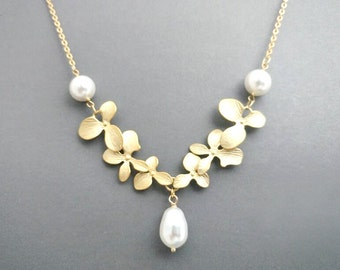 Triple, Pearl,  Orchid, Gold, Silver, Necklace, Orchid, Flower, Jewelry, Birthday, Wedding, Mom, Sister, Gift