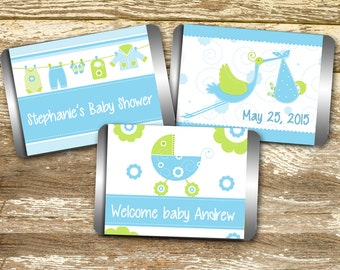 Mini Candy Wrapper - Baby Shower Boy, Stork Baby Shower, Blue and Green Baby, Baby Shower Favor, Personalized Hershey, Printable Hershey