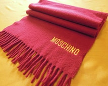 "Moschino Scarf Pure Wool Solid Pattern Red Vintage Muffler Foulard Shawl Wrap 71"" X 15"" (7/12)"