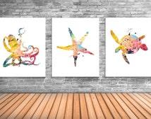 Nautical Wall Art, Octopus, Starfish, Sea Turtle, Ocean Theme Room Decor, Sea Animal Posters, Set of Three Art Prints - NS23