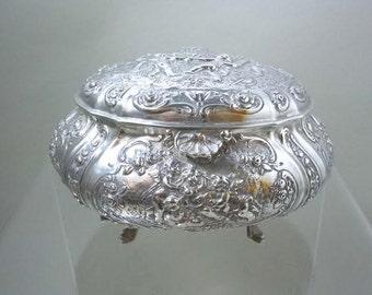 Continental 800 Silver Jewelry Casket Trinket Box Angels Cherubs European