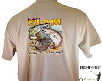 Inshore Slam Speckled Trout Flounder Redfish Fishing Sportsman Sport T-Shirt