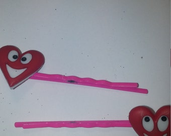Valentine's red laughing hearts on pink bobby pins. set of 2 pins