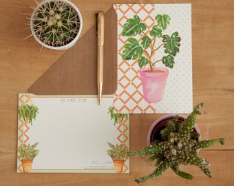 Pack of 6 Illustrated Notelets   Potted Plant Illustrated Designs With Envelopes   Correspondence   Notelets   Cacti   Houseplants   Plants