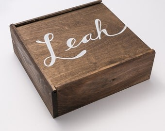 Personalized Wooden Slide Top Box, LARGE