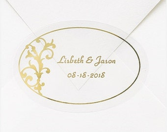 Personalized Gold Vines Wedding Invitation Envelope Seals Stickers (Pack of 100)