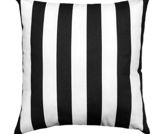 Black and White Stripe Pillow Covers, 18 x 18, 20 x 20 Pillow Covers, Black White Throw Pillows, Black Striped Pillow with Zipper Closure