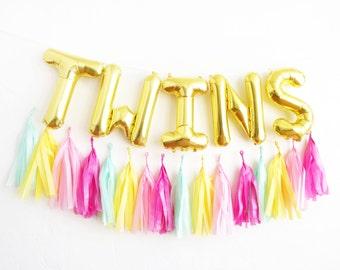 TWINS balloons - gold mylar foil letter balloon - tassel garland set