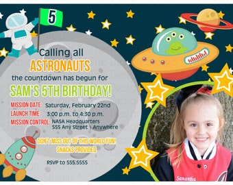 Space Moon Alien Astronaut Photo Birthday Invitation