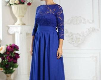 Wedding Cobalt Dress.Bridesmaids Blue Long Dress.Beach Wedding Party Gown Formal