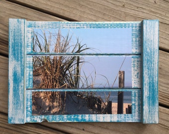 Photo on wood - Lavallette NJ - Jersey shore photo -  wood beach photo - beach house art - picture on wood - Seagrass photo - coastal art