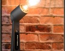 Retro Industrial Upcycled 1970 Rare Heathkit Microphone Repurposed Vintage Dark Gray Desk Lamp Light w/ Edison Light Bulb by Loftyideas4u