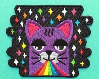 Rainbow Laser Cat Iron-On Patch