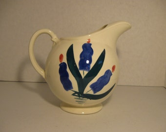 Mid Century T.S.T. Ceramic Pitcher Ice Guard Rounded Pitcher Flowers Taylor Smith Taylor Ball Pitcher
