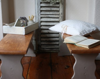 Matching Pair of Pine Benches with Painted Bases in Hurricane Grey