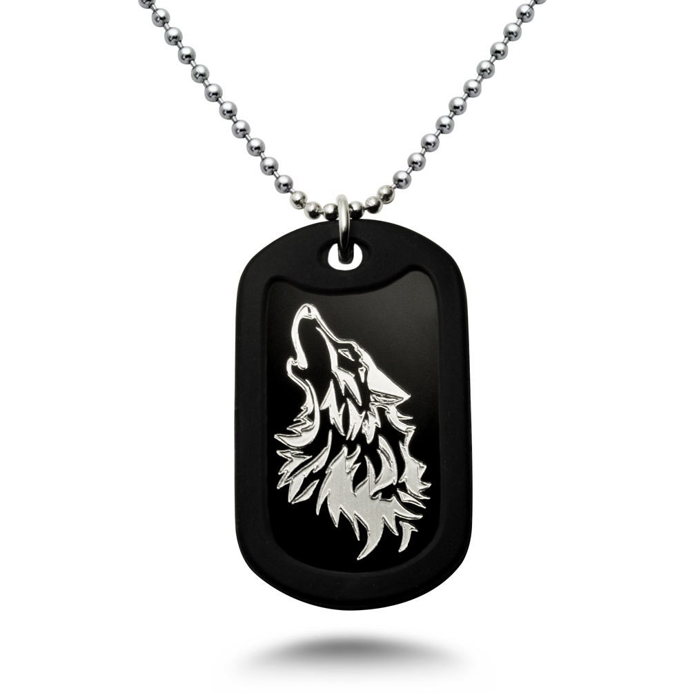 wolf necklace personalized aluminum dog tag necklace with. Black Bedroom Furniture Sets. Home Design Ideas