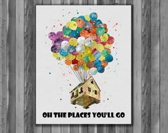 Up - Balloon House - Pixar - Disney - Art Print, instant download, Watercolor Print, poster