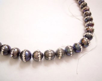 9mm Freshwater Black Pearl Strand with Cubic Zirconia