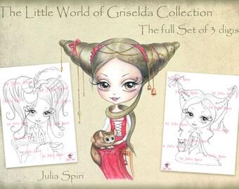 Set of 3 Digital Stamps,  Vintage Digi, Little girl, Big Eyes, Owl, Chinchilla, Gothic, Coloring. The  Little World of Griselda Collection.