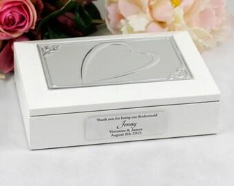 Personalised Bridesmaid Heart Jewel Keepsake Box