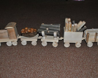 Wooden Train with Carriages
