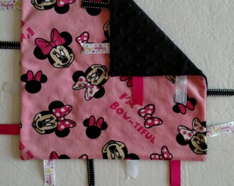 Minnie Mouse security blanket with ribbons