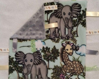 Safari infant taggie blanket with ribbons