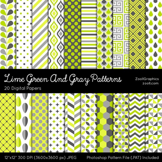 """Lime Green And Gray Patterns, Digital Paper, 20 Digital Papers (12""""x12""""), Photoshop Pattern File .PAT Included, Seamless, INSTANT DOWNLOAD"""